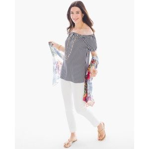 CHICOS Top Off The Shoulder Striped Blouse Top NWT
